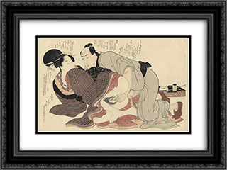 A married man and a spinster 24x18 Black or Gold Ornate Framed and Double Matted Art Print by Kitagawa Utamaro