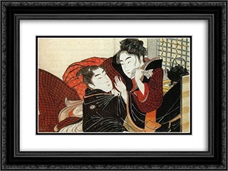 A scene from the 'Poem of the Pillow' 24x18 Black or Gold Ornate Framed and Double Matted Art Print by Kitagawa Utamaro