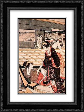 A scene on the bridge 18x24 Black or Gold Ornate Framed and Double Matted Art Print by Kitagawa Utamaro