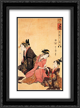 A scene on the bridge and beld 18x24 Black or Gold Ornate Framed and Double Matted Art Print by Kitagawa Utamaro