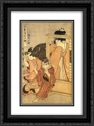 A Woman Watches Two Children 18x24 Black or Gold Ornate Framed and Double Matted Art Print by Kitagawa Utamaro
