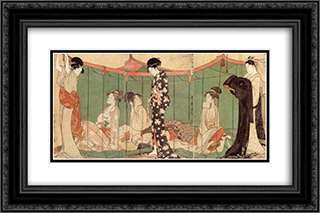All night under mosquito net 24x16 Black or Gold Ornate Framed and Double Matted Art Print by Kitagawa Utamaro