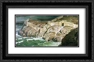 Ancient fortress 24x16 Black or Gold Ornate Framed and Double Matted Art Print by Konstantin Bogaevsky