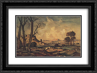 Autumn evening 24x18 Black or Gold Ornate Framed and Double Matted Art Print by Konstantin Bogaevsky