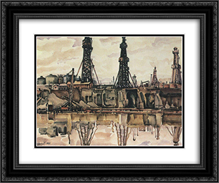 Baku. Oil rigs. 24x20 Black or Gold Ornate Framed and Double Matted Art Print by Konstantin Bogaevsky