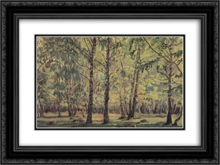 Birch Grove 24x18 Black or Gold Ornate Framed and Double Matted Art Print by Konstantin Bogaevsky