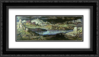 Cimmerian region 24x14 Black or Gold Ornate Framed and Double Matted Art Print by Konstantin Bogaevsky