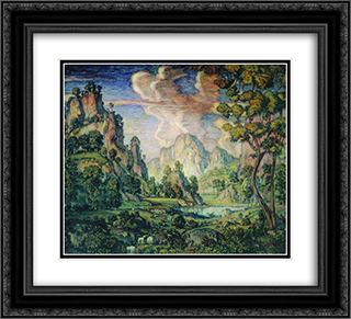 Classical Landscape 22x20 Black or Gold Ornate Framed and Double Matted Art Print by Konstantin Bogaevsky