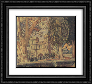 Clock towers of Alupka Palace 22x20 Black or Gold Ornate Framed and Double Matted Art Print by Konstantin Bogaevsky