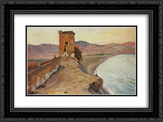 Consular tower in Sudak 24x18 Black or Gold Ornate Framed and Double Matted Art Print by Konstantin Bogaevsky