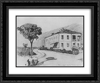 Estate in Kenegeze 24x20 Black or Gold Ornate Framed and Double Matted Art Print by Konstantin Bogaevsky