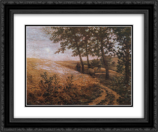 Evening landscape 24x20 Black or Gold Ornate Framed and Double Matted Art Print by Konstantin Bogaevsky