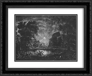 Evening sun 24x20 Black or Gold Ornate Framed and Double Matted Art Print by Konstantin Bogaevsky