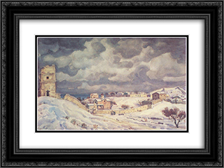 Feodosia at winter 24x18 Black or Gold Ornate Framed and Double Matted Art Print by Konstantin Bogaevsky