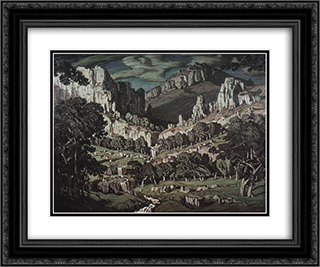 Flow. Fantastic landscape. 24x20 Black or Gold Ornate Framed and Double Matted Art Print by Konstantin Bogaevsky