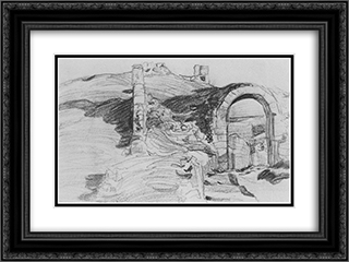 Gates in the tower 24x18 Black or Gold Ornate Framed and Double Matted Art Print by Konstantin Bogaevsky
