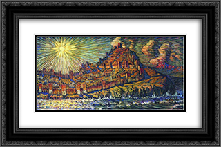 Genoese fortress 24x16 Black or Gold Ornate Framed and Double Matted Art Print by Konstantin Bogaevsky