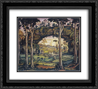 Italian Landscape 22x20 Black or Gold Ornate Framed and Double Matted Art Print by Konstantin Bogaevsky