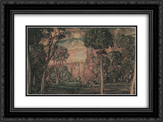 Landscape 24x18 Black or Gold Ornate Framed and Double Matted Art Print by Konstantin Bogaevsky