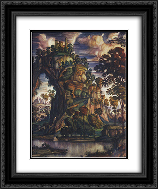 Landscape with castle 20x24 Black or Gold Ornate Framed and Double Matted Art Print by Konstantin Bogaevsky