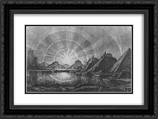 Landscape with lake 24x18 Black or Gold Ornate Framed and Double Matted Art Print by Konstantin Bogaevsky