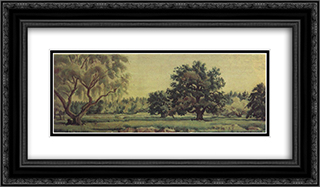 Landscape with oaks and willows 24x14 Black or Gold Ornate Framed and Double Matted Art Print by Konstantin Bogaevsky