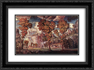 Landscape with rocks. Stary Krym. 24x18 Black or Gold Ornate Framed and Double Matted Art Print by Konstantin Bogaevsky