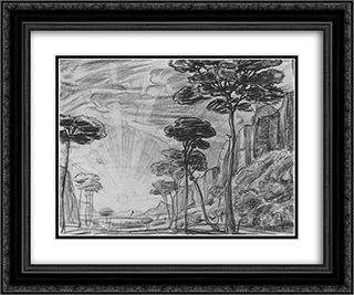 Landscape with tall trees 24x20 Black or Gold Ornate Framed and Double Matted Art Print by Konstantin Bogaevsky