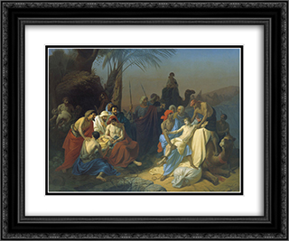 Children of Jacob sell his brother Joseph 24x20 Black or Gold Ornate Framed and Double Matted Art Print by Konstantin Dmitriyevich Flavitsky