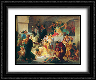 Christian martyrs in the Colosseum 24x20 Black or Gold Ornate Framed and Double Matted Art Print by Konstantin Dmitriyevich Flavitsky