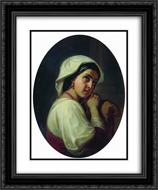 Italian Girl 20x24 Black or Gold Ornate Framed and Double Matted Art Print by Konstantin Dmitriyevich Flavitsky