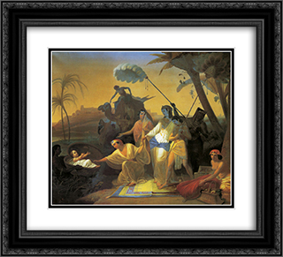 Pharaoh's daughter finding baby Moses 22x20 Black or Gold Ornate Framed and Double Matted Art Print by Konstantin Dmitriyevich Flavitsky