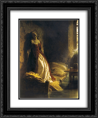 Princess Tarakanova, in the Peter and Paul Fortress at the Time of the Flood 20x24 Black or Gold Ornate Framed and Double Matted Art Print by Konstantin Dmitriyevich Flavitsky