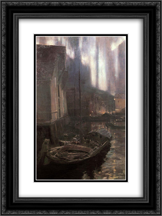 Hammerfest. The Nothern Lights 18x24 Black or Gold Ornate Framed and Double Matted Art Print by Konstantin Korovin