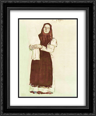 A young peasant woman in a red scarf 20x24 Black or Gold Ornate Framed and Double Matted Art Print by Konstantin Yuon
