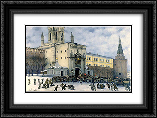 Assault on the Kremlin in 1917 24x18 Black or Gold Ornate Framed and Double Matted Art Print by Konstantin Yuon