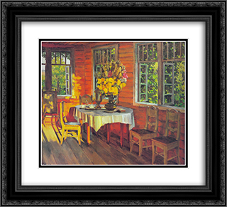 August Evening. Last Ray. Ligachevo 22x20 Black or Gold Ornate Framed and Double Matted Art Print by Konstantin Yuon