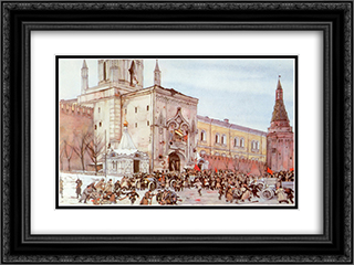Before entering into Kremlin. Nikolsky Gate 2 (15) November 1917 24x18 Black or Gold Ornate Framed and Double Matted Art Print by Konstantin Yuon