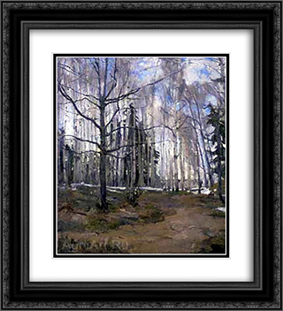 Birch Forest 20x22 Black or Gold Ornate Framed and Double Matted Art Print by Konstantin Yuon