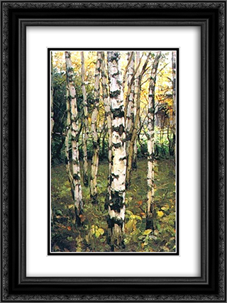 Birches. Petrovskoye 18x24 Black or Gold Ornate Framed and Double Matted Art Print by Konstantin Yuon