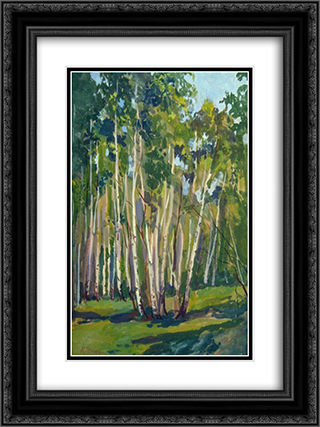 Birches at Noon 18x24 Black or Gold Ornate Framed and Double Matted Art Print by Konstantin Yuon