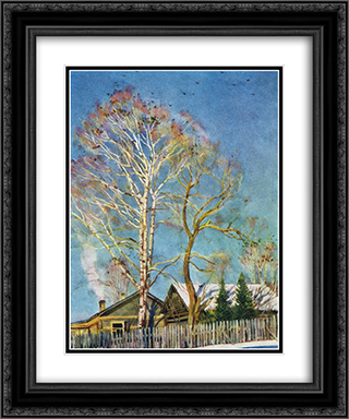 Blue morning. Rooks on the birches. Ligachevo 20x24 Black or Gold Ornate Framed and Double Matted Art Print by Konstantin Yuon