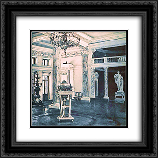 Concert Hall of the Ostankino Palace 20x20 Black or Gold Ornate Framed and Double Matted Art Print by Konstantin Yuon