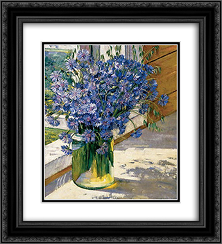 Cornflowers in a ray of sunshine 20x22 Black or Gold Ornate Framed and Double Matted Art Print by Konstantin Yuon
