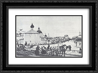 Depart from Troitsa 24x18 Black or Gold Ornate Framed and Double Matted Art Print by Konstantin Yuon