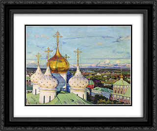 Domes and swallows. Assumption Cathedral of the Trinity Sergius Lavra 24x20 Black or Gold Ornate Framed and Double Matted Art Print by Konstantin Yuon