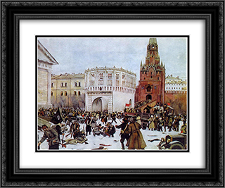 Entry into the Kremlin through the Trinity Gates 2 (15) November 1917 24x20 Black or Gold Ornate Framed and Double Matted Art Print by Konstantin Yuon