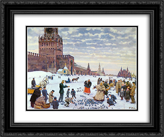 Feeding pigeons in Red Square in the years 1890 - 1900 24x20 Black or Gold Ornate Framed and Double Matted Art Print by Konstantin Yuon