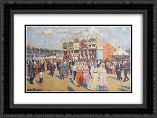 Festivities on the Field Devichye 24x18 Black or Gold Ornate Framed and Double Matted Art Print by Konstantin Yuon