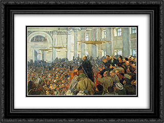First appearance of Lenin at a meeting in Smolny, the Petrograd Soviet on Oct. 25, 1917 24x18 Black or Gold Ornate Framed and Double Matted Art Print by Konstantin Yuon